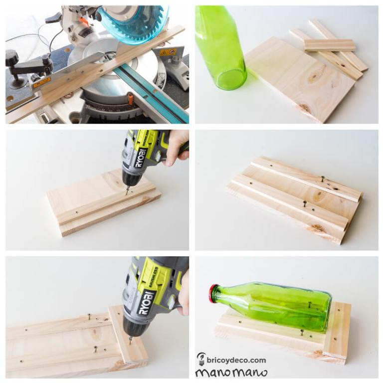 Glass Bottle DIY Upcycled Ceiling Light craft recycling cutting cut bottles do it yourself diy manomano mano the handy saw