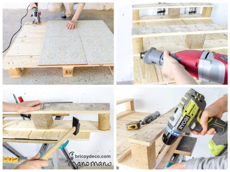 thehandymano mano mano pallet coffee table saw cut drill
