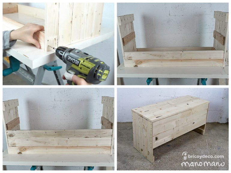 thehandymano mano Outdoor Storage Bench DIY tutorial drill front back