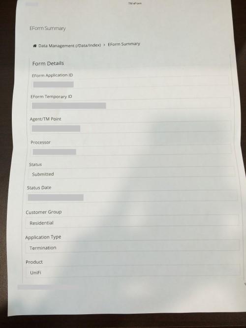 Unifi Termination Summary