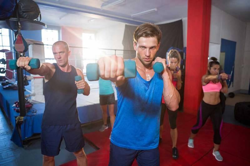 Shadow Boxing with Neoprene Dumbbells