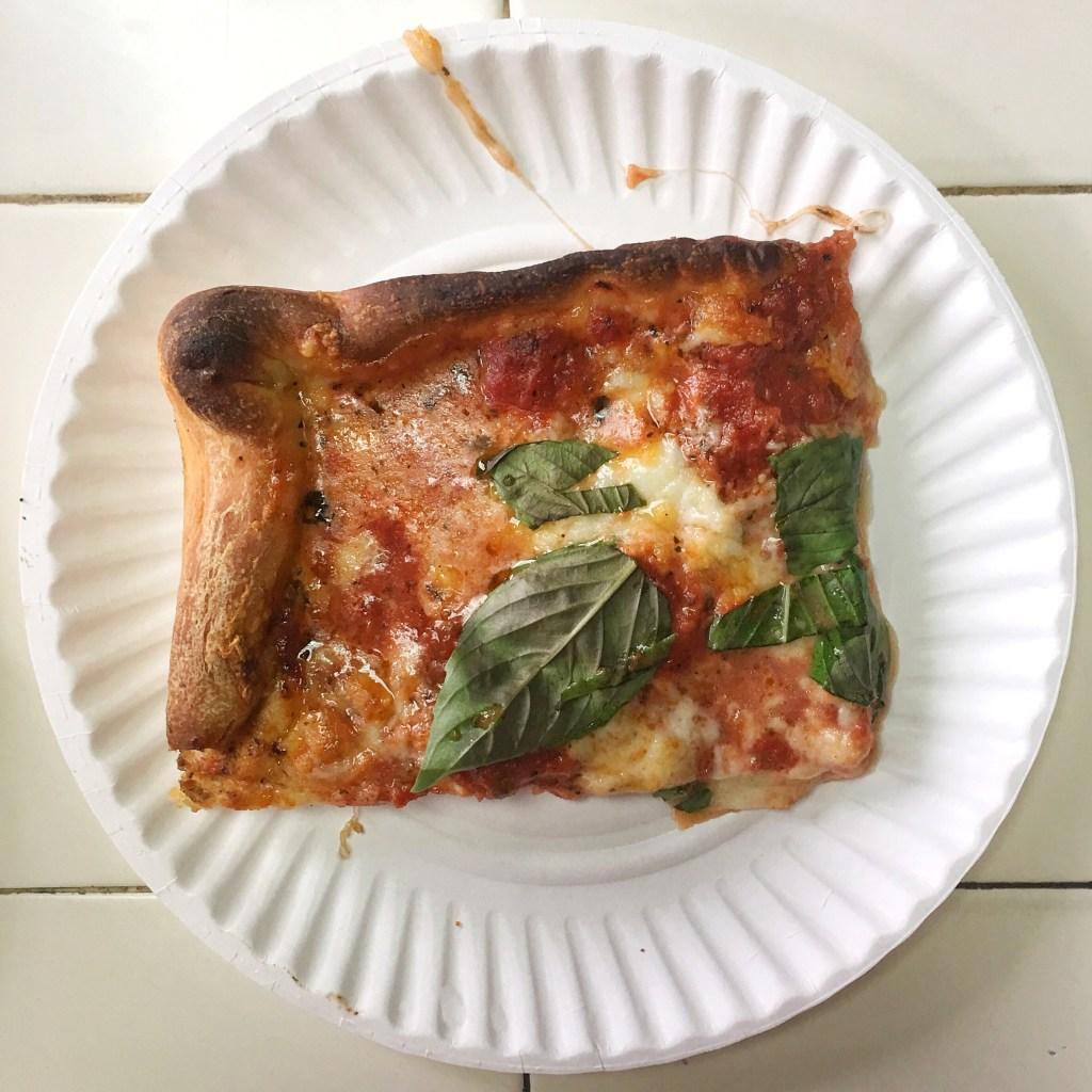Di Fara Pizza Sicilian pizza slice