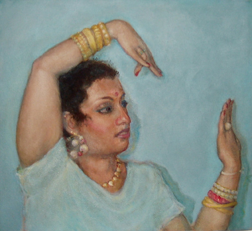 "Painting by Nancy Plotkin ""Chaya, Dancer"" 20""x22"" date unknown *(I believe this image is newer than the class note)."
