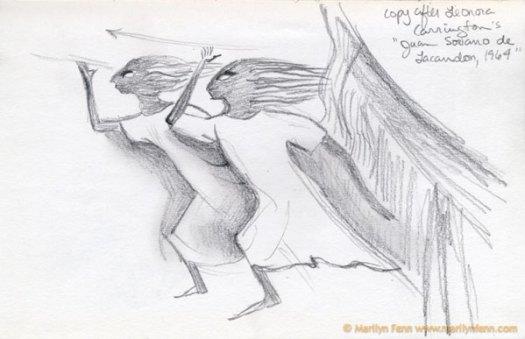 "Copy After Leonora Carrington's ""Juan Soriano de Lacandón,"" 1964 at the Art Institute of Chicago Pencil 7"" x 5"" © 1991 Marilyn Fenn"