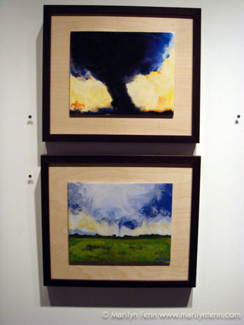 """Tornado - Kansas - June 1, 2004"" Encaustic on Masonite, Mounted on Plywood Mat and Framed 8"" x 10"" -- O.D. 15"" x 11"" ©2006 Marilyn Fenn ""Tornado - Clay, AZ"" Encaustic on Masonite, Mounted on Plywood Mat and Framed 8"" x 10"" -- O.D. 15"" x 11"" ©2006 Marilyn Fenn"