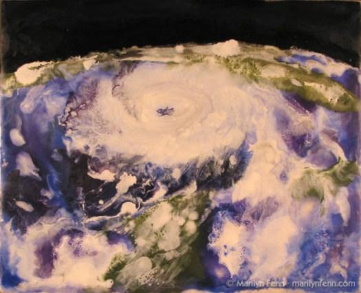 """""""Hurricane Katrina"""" Encaustic on Masonite 8″ x 10″ © 2007 Marilyn Fenn"""
