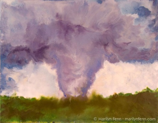 """Tornado - Stoughton, WI - August 18, 2006"" Encaustic on Masonite 8″ x 10″ © 2007 Marilyn Fenn"