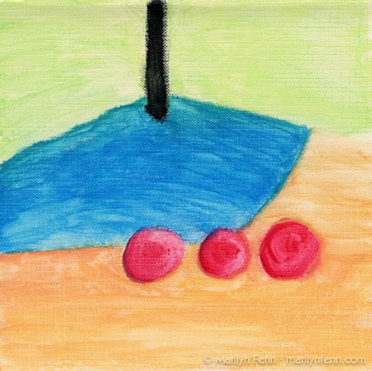 """Resting"" Watercolor crayon on canvas paper 6"" x 6"" © 2009 Marilyn Fenn"