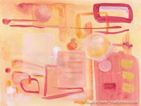 "Alien Kitchen · mixed media on paper · 9""x12"""