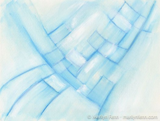 """Emerging Convergence - Blue"" Mixed Media on Watercolor Paper 9"" x 12"" © 2009 Marilyn Fenn"