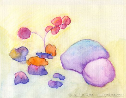 """Rocks and Flowers"" Mixed Media on Watercolor Paper 12"" x 9"" © 2009 Marilyn Fenn"