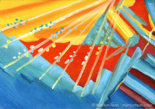 """""""Chemical Valley"""" Oil on Canvas 5"""" x 7"""" © 2009 Marilyn Fenn (painting based on some crystalline concoction of various chemicals)"""