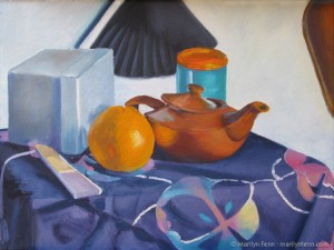 Still Life with Teapot and Orange · Oil on Panel · 1992