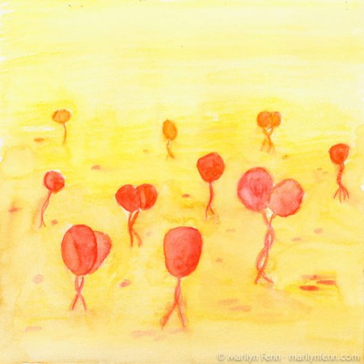 """A Gathering of Small Redheads"" Watermedia on Stonehenge paper 8"" x 8"" © Marilyn Fenn"