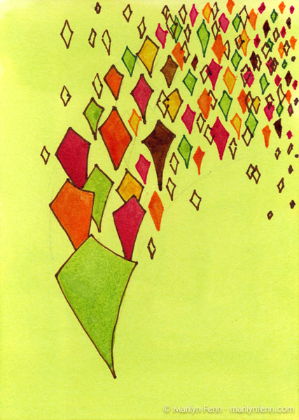 "Harmoniums 004 | Mixed media on board | 7"" x 5"" | © 2011 Marilyn Fenn"