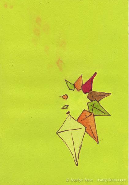 "Harmoniums 005 | Mixed media on board | 7"" x 5"" | © 2011 Marilyn Fenn"