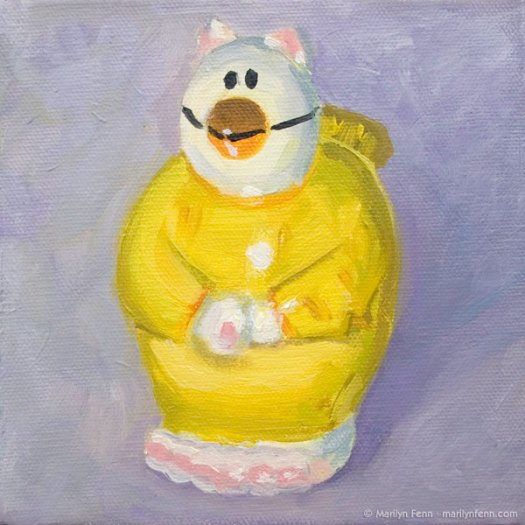 """Catbird"" Oil on canvas 6"" x 6"" © 2011 Marilyn Fenn"