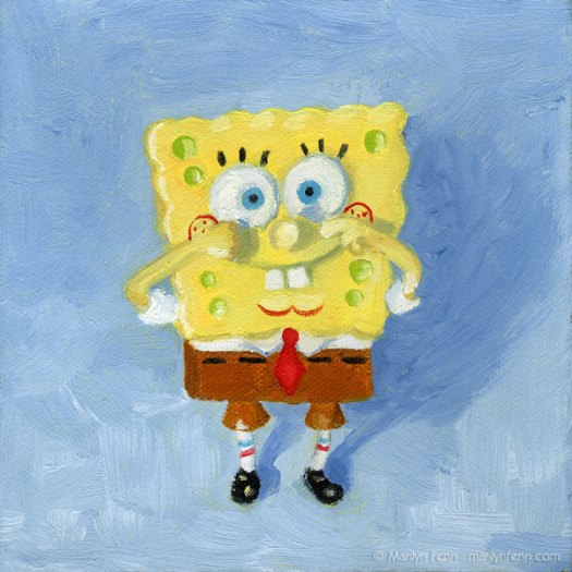 Spongebob Squarepants | Oil on canvas | 6 x 6 inches | © 2011 Marilyn Fenn