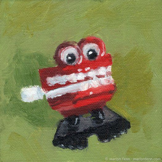 """Akk-akk-akk-akk-akk!"" Oil on canvas 4"" x 4"" © 2011 Marilyn Fenn"