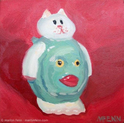 """Catfish"" Oil on canvas 6″ x 6″ © 2011 Marilyn Fenn"
