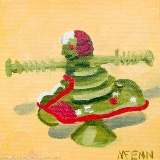 """Fifteen Minutes for a Quarter"" Oil on canvas 5"" x 5"" © 2011 Marilyn Fenn"