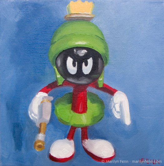 """""""You Earthlings Have Made Me Very Angry"""" Oil on canvas 8"""" x 8"""" © 2011 Marilyn Fenn"""