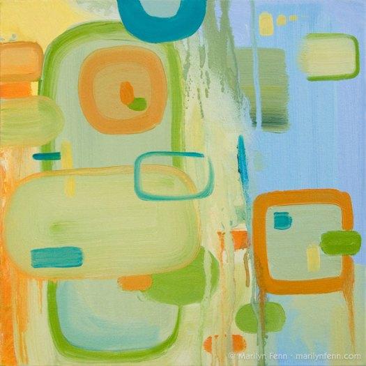 """""""It's Awash"""" Oil on canvas 12"""" x 12"""" © 2011 Marilyn Fenn"""