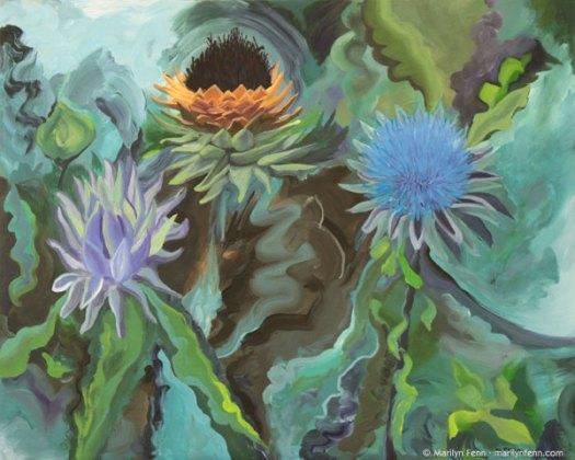 """""""Food Forest"""" Acrylic on canvas 24"""" x 30"""" © 2012 Marilyn Fenn"""