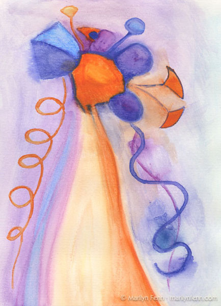 """Alien Bouquet"" Watercolor crayons on paper 12"" x 9"" © 2009 Marilyn Fenn"
