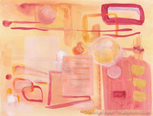 """Alien Kitchen"" Mixed media on paper 9"" x 12"" © 2009 Marilyn Fenn"
