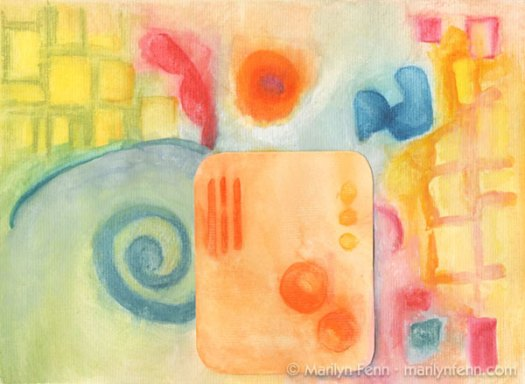 """Alien Yardscape"" Mixed media on paper 9"" x 12"" © 2009 Marilyn Fenn"