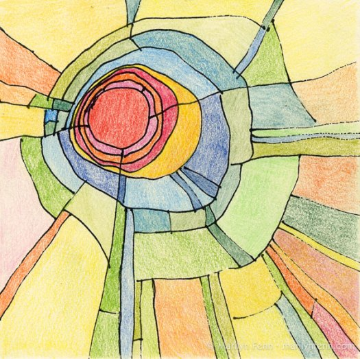 """Not-So-Daily Drawing 2012-003"" Mixed media on watercolor paper 6"" x 6"" © 2012 Marilyn Fenn"