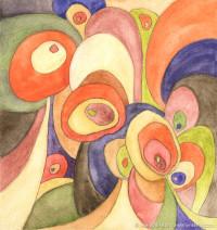"""Hippie Nouveau,"" watercolor pencils on heavy Raffine sketch paper, 6"" x 5.75"", © 2013 Marilyn Fenn"