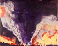 Tornado - OK - July 2, 1999 | Encaustic on Masonite, framed | by Marilyn Fenn