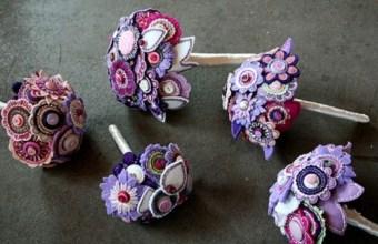 Bouquet da sposa in feltro, pannolenci e bottoni
