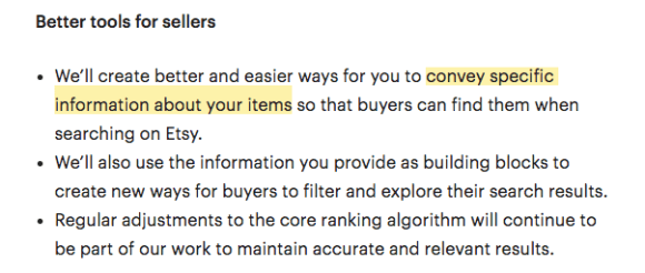 """""""convey specific information about your items"""""""