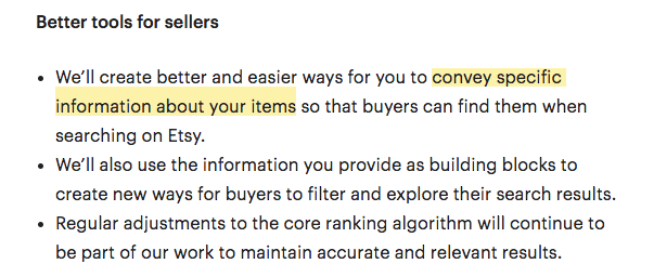 """convey specific information about your items"""