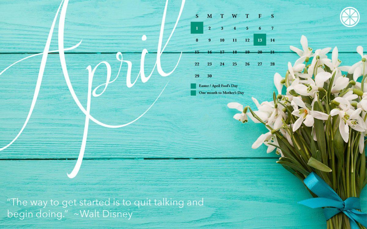 April 2018 free desktop calendar