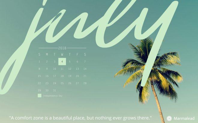 July free desktop calendar Marmalead