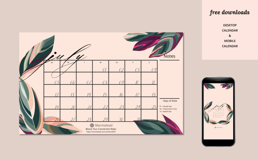 Q3 2020 Free Desktop Calendars