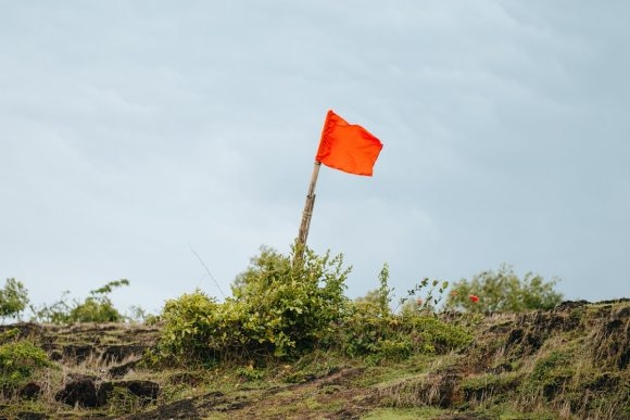 Red flag sticking up