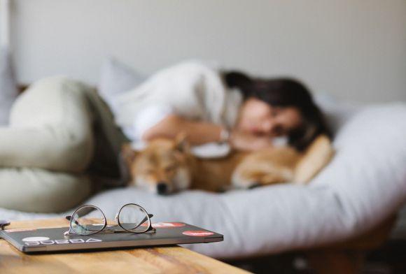 break from that screen - woman sleeping