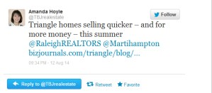 http://www.bizjournals.com/triangle/blog/real-estate/2014/08/triangle-homes-selling-quicker-and-for-more-money.html