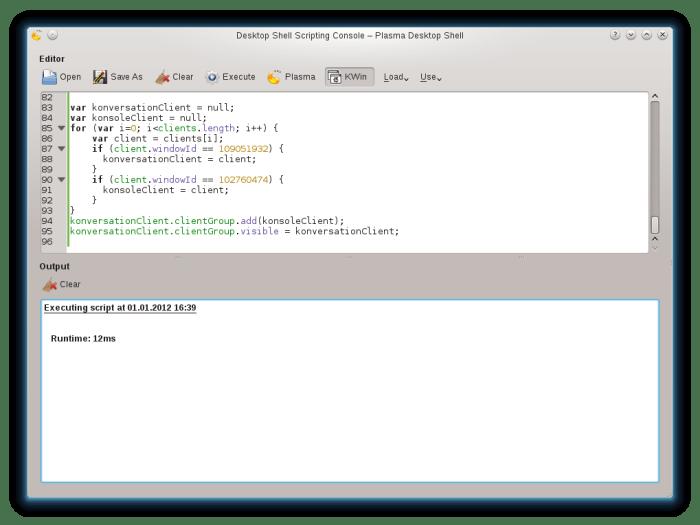 Plasma Desktop Console executing a KWin script
