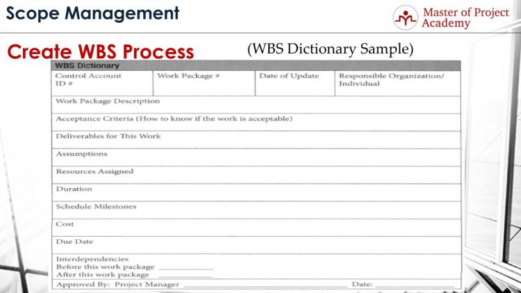 WBS Dictionary
