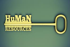 """A key made of the words """"human resources."""""""