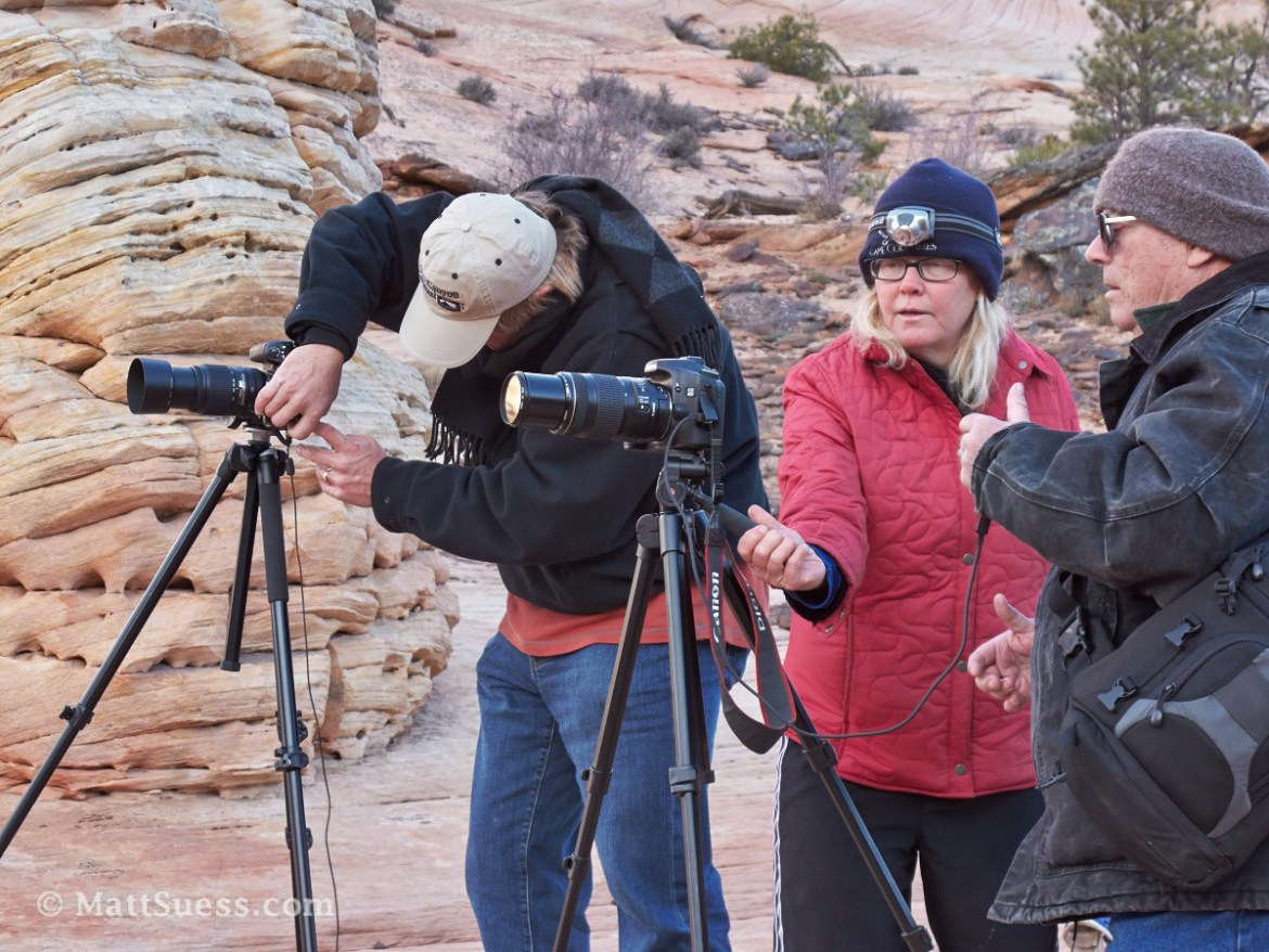 Christine shows one of our students how the slightest adjustment with the camera on a tripod can make a huge difference in the final image's composition.