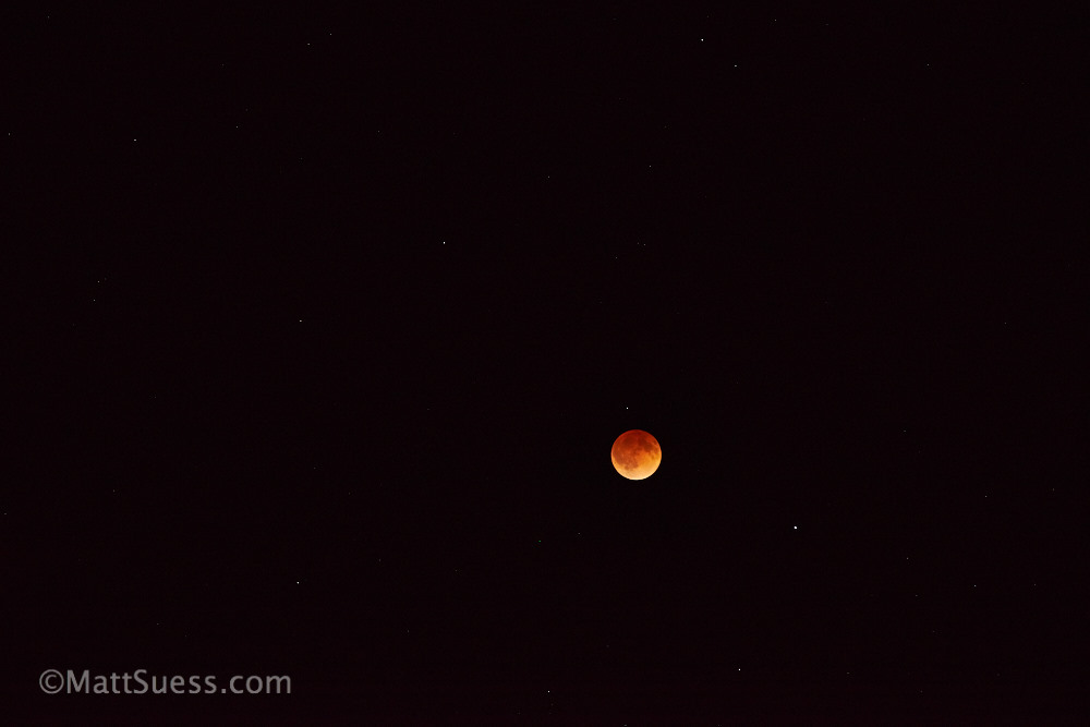 Here is a full-frame shot of the blood moon at it's peak. This file is seen after it had been processed in RAW software from Capture One Pro. Even at 200mm the moon doesn't fill up much on a full-frame camera like the Sony a7.