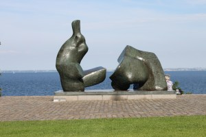 Outdoor art with a view across the Oresund to Sweden at the Louisiana Museum.