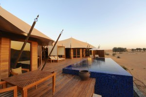 Bedouin-style villas with infinity pools at the Banyan Tree resort.